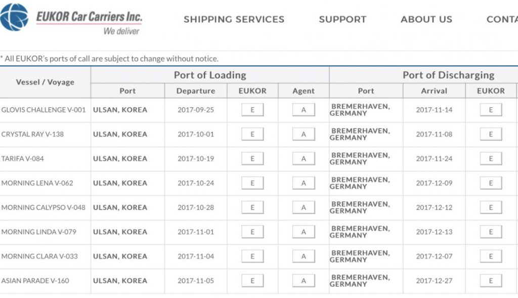 Autofähren die den Hyundai Ioniq transportieren